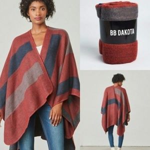 BB DAKOTA x FAB FIT FUN Poncho Cardigan Burgundy